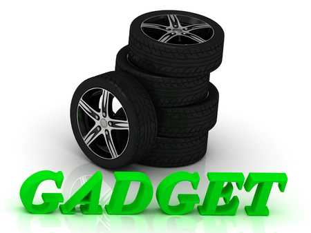 rims: GADGET- bright letters and rims mashine black wheels on a white background
