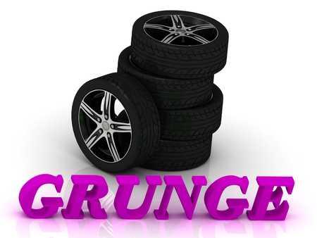 rims: GRUNGE- bright letters and rims mashine black wheels on a white background Stock Photo