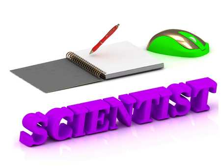 computer scientist: SCIENTIST  bright volume letter and copybook with red pen and computer mouse on white background