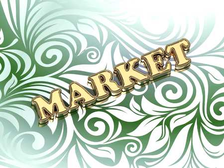 ltc: MARKET bright color letters on nice green ornament background Stock Photo