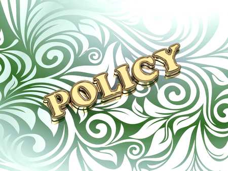 ltc: POLICY bright color letters on nice green ornament background Stock Photo