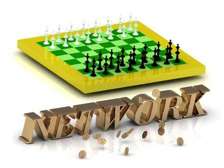 www community: NETWORK- bright gold letters money and yellow chess on white background