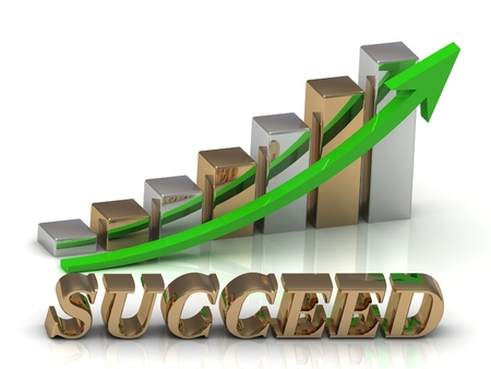 succeed: SUCCEED- inscription of gold letters and Graphic growth and gold arrows on white background