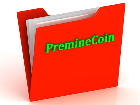 crypto: PremineCoin- bright green letters on red paperwork folder witch paper list on a white background