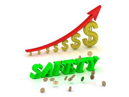 ltc: SAFETY- bright color letters and graphic growing dollars and red arrow on a white background Stock Photo