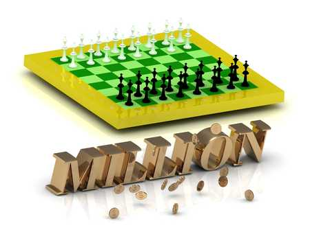 MILLION: MILLION- bright gold letters money and yellow chess on white background
