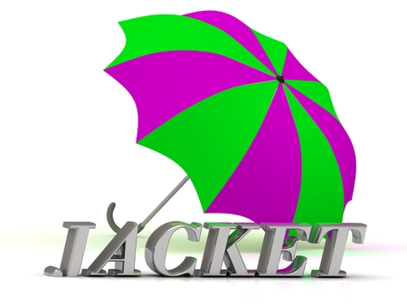 JACKET- inscription of silver letters and umbrella on white background