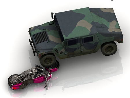approached: Army heavy jeep has approached wheel on bright civil motorcycle Stock Photo