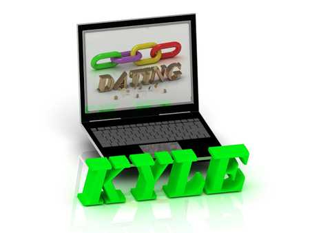 kyle: KYLE- Name and Family bright letters near Notebook and  inscription Dating on a white background Stock Photo