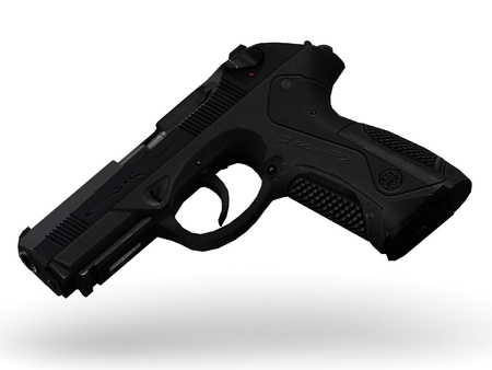 painfully: gun with pimply handle falling midair on white background
