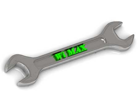 internet terminal: Wi MAX bright volume letter on silver key instrument on white background Stock Photo