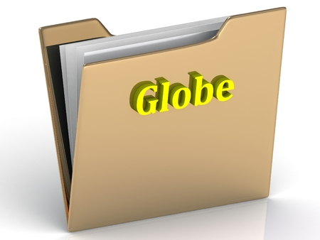 gold globe: Globe- bright color letters on a gold folder on a white background