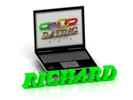 richard: RICHARD- Name and Family bright letters near Notebook and  inscription Dating on a white background Stock Photo