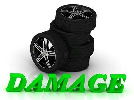 rims: DAMAGE- bright letters and rims mashine black wheels on a white background
