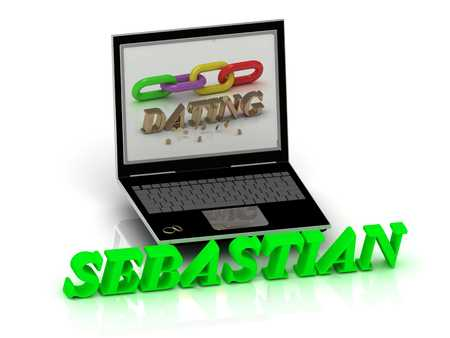 inscription notebook: SEBASTIAN- Name and Family bright letters near Notebook and  inscription Dating on a white background