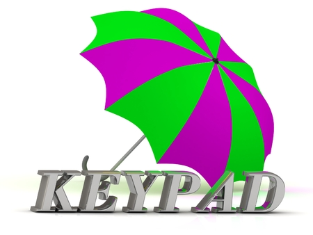 keypad: KEYPAD- inscription of silver letters and umbrella on white background