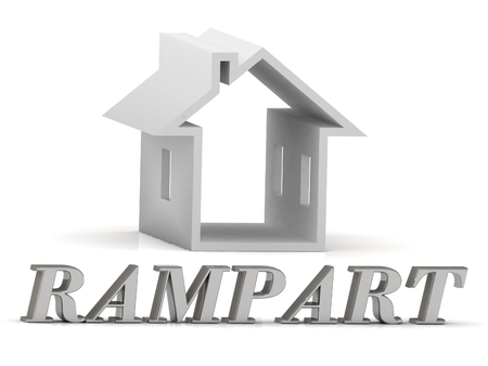rampart: RAMPART- inscription of silver letters and white house on white background