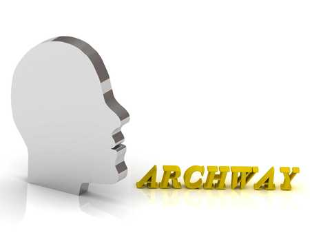archway: ARCHWAY bright color letters and silver head mind on a white background
