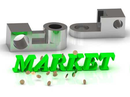 ltc: MARKET- words of color letters and silver details on white background