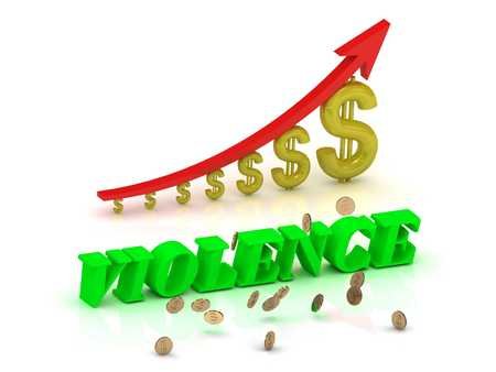 social emotional: VIOLENCE- bright color letters and graphic growing dollars and red arrow on a white background Stock Photo
