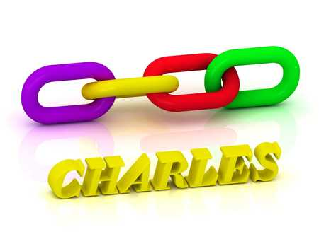 charles: CHARLES- Name and Family of bright yellow letters and chain of green, yellow, red section on white background