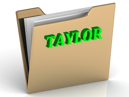 taylor: TAYLOR- bright green letters on gold paperwork folder on a white background Stock Photo