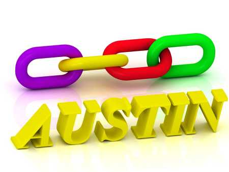 austin: AUSTIN- Name and Family of bright yellow letters and chain of green, yellow, red section on white background Stock Photo