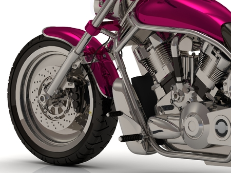 chromed: Front wheel and Chromed cylinders of the engine and gearbox beside heavy motorcycle from the side