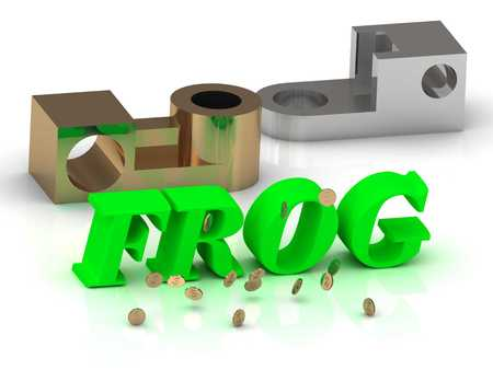 lion and lamb: FROG - words of color letters and silver details and bronze details on white background