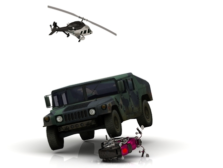 approached: Video removal with Journalist of the helicopter: heavy army jeep has approached wheel on bright civil motorcycle