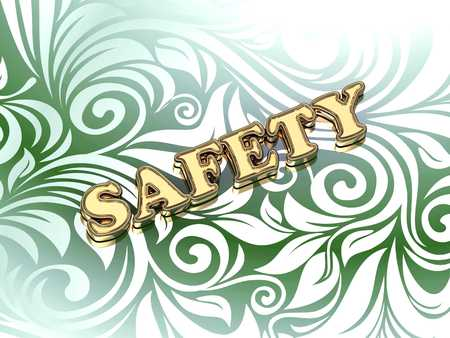 ltc: SAFETY bright color letters on nice green ornament background