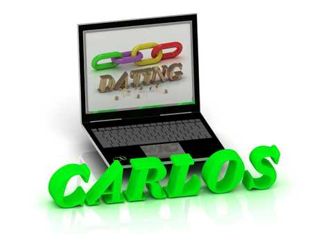 carlos: CARLOS- Name and Family bright letters near Notebook and  inscription Dating on a white background