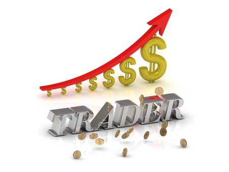 trader: TRADER 2  bright silver letters and graphic growing dollars and red arrow on a white background