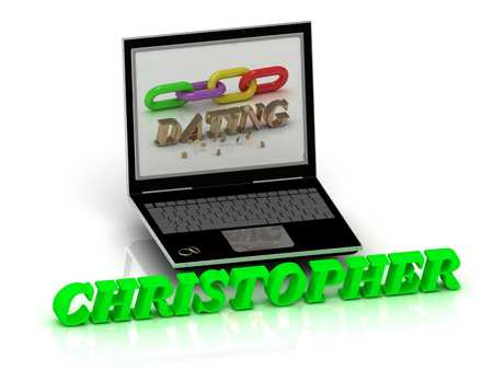 christopher: CHRISTOPHER- Name and Family bright letters near Notebook and  inscription Dating on a white background Stock Photo