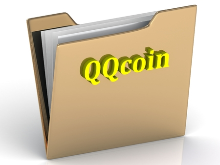 crypto: QQcoin- bright color letters on a gold folder on a white background