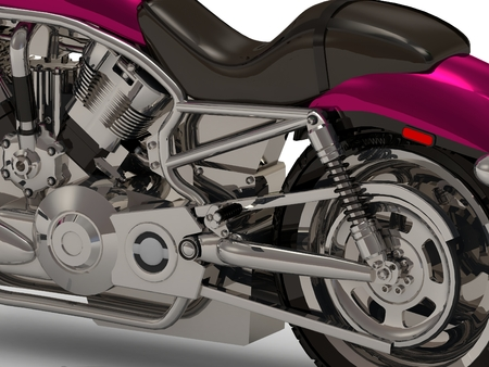 chromed: Chromed cylinders of the engine and chain join and gearbox beside heavy motorcycle from the side Stock Photo