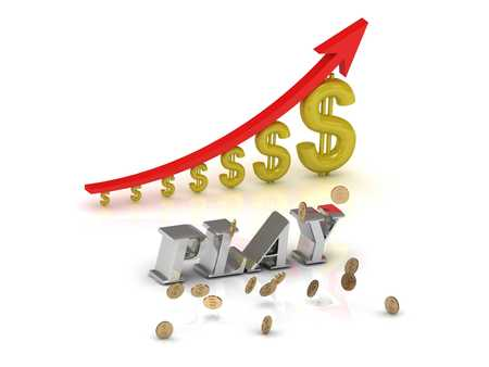 PLAY bright silver letters and graphic growing dollars and red arrow on a white background Stock Photo