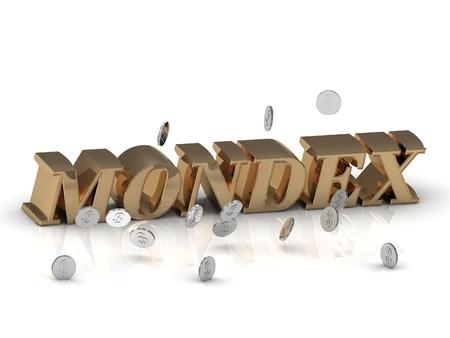 letras de oro: MONDEX - inscripci�n de letras de oro sobre fondo blanco Foto de archivo