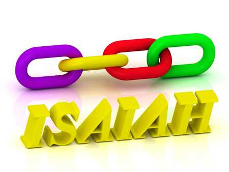 isaiah: ISAIAH- Name and Family of bright yellow letters and chain of green, yellow, red section on white background