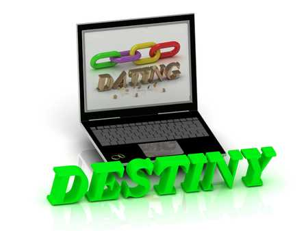 destiny: DESTINY- Name and Family bright letters near Notebook and  inscription Dating on a white background