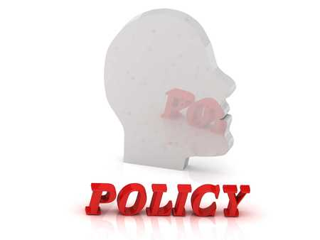 ltc: policy- bright color letters and silver head mind on a white background
