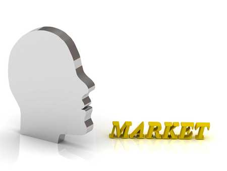 ltc: MARKET bright color letters and silver head mind on a white background