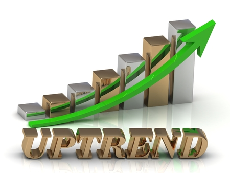 uptrend: UPTREND- inscription of gold letters and Graphic growth and gold arrows on white background Stock Photo