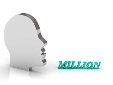 million: MILLION bright color letters and silver head mind on a white background Stock Photo