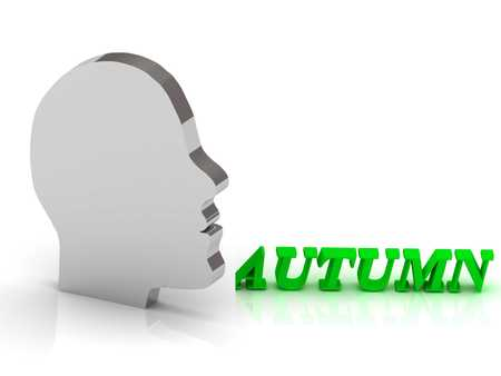 hollidays: AUTUMN - bright color letters and silver head mind on a white background
