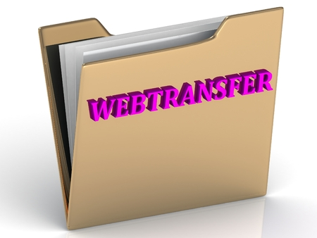 crypto: WEBTRANSFER- bright color letters on a gold folder on a white background Stock Photo