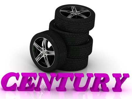 rims: CENTURY- bright letters and rims mashine black wheels on a white background Stock Photo