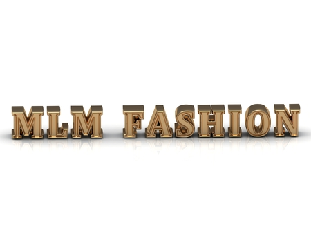 mlm: MLM FASHION gold letters on white background