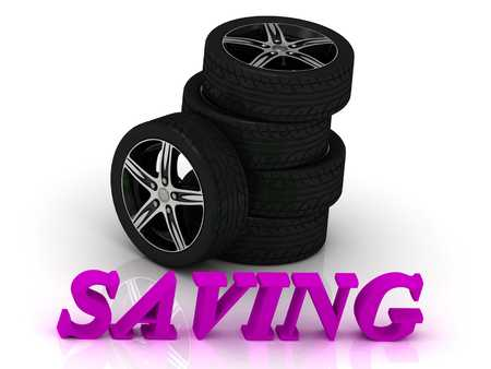 ltc: SAVING- bright letters and rims mashine black wheels on a white background