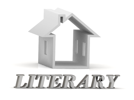 literary: LITERARY- inscription of silver letters and white house on white background